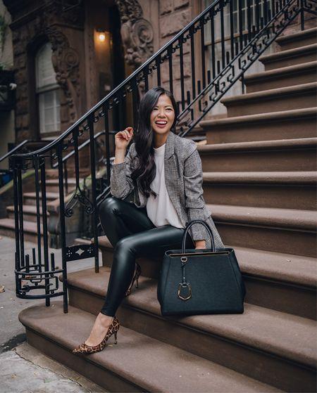 Plaid blazer (XS), similar mock neck tank, faux leather leggings (XS), similar leopard pumps.  Work outfit, fall style, blazer outfit, Amazon fashion, Amazon finds, business casual.   #LTKunder50 #LTKstyletip #LTKworkwear