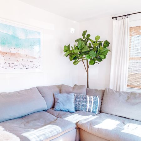SoCal-inspired corners are my quarantine medicine 🌴🌞 Feat. the BEST faux fiddle leaf fig tree. Shop my living room!! http://liketk.it/2Qtnl #liketkit @liketoknow.it @liketoknow.it.home #LTKhome   Visit my blog aurabristol.com/blog to read ALL about our sectional that I'm obsessed with!! 🤍 View my LTK feed for other gorgeous beach prints + fiddle leaf fig trees 🌊🌳  living room design, fiddle leaf fig, fiddle leaf fig tree, gray sectional, grey sectional, blue throw pillows, faux fiddle leaf, faux fiddle leaf fig, faux fiddle leaf fig tree, world market fiddle leaf fig, world market fiddle leaf fig tree, white walls, minimal interior design, minimalist interior design, white linen curtains, white curtains black rod, black curtain rings, large sectional, xl sectional, plain black curtain rod, simple black curtain rod, deep sectional, extra deep sectional, rh cloud, rh cloud dupe, cloud sectional, restoration hardware cloud, sectionals like rh cloud, sofa like rh cloud, couch similar to rh cloud, sofa similar to rh cloud, sectional similar to rh cloud, bobs dream, my bobs dream, bobs discount furniture dream, dream sectional, bamboo shades, woven wood shades, wood shades, bamboo blinds, woven wood blinds, wood blinds, light wood blinds, light wood shades, arlo blinds, arlo Petite rustique, petite rustique, beach print, large beach print, beach wall art, aerial beach print, aerial beach art, aerial beach photo, socal inspired, interiors, SoCal interiors, Southern California living room, coastal interiors, coastal interior design, interior designer, belgian linen curtains, white rod pocket curtains, white curtains white walls, white walls gray sectional, white walls grey sectional, gray malin dupe, white walls gray sofa, white walls grey sofa, white walls gray couch, white walls grey couch, faux tree living room, living room interior design, small living room, small living room design, small living room interior design, blue white pillows, light bright living room, light 