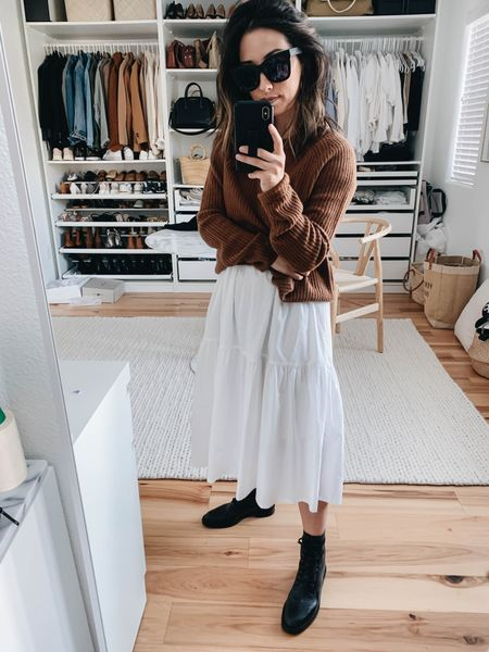 Combat boots styled with a dress.   Sweater - Jenni Kayne xs (code crystalin15) Dress - Everlane xxs (old) Boots - Schutz 5  http://liketk.it/37mT1 #liketkit @liketoknow.it