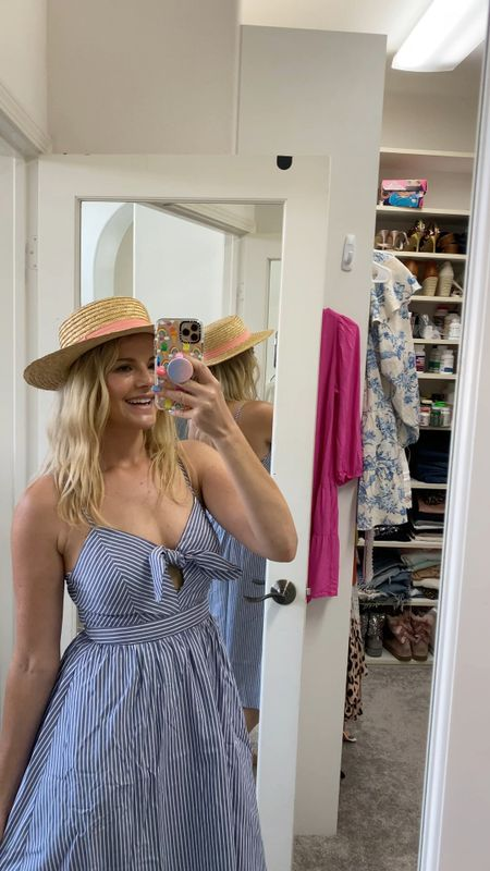 Love this cute dress under $60 and hat I've had for 4+ years that's under $20. They make a new version every year!   #springdress #summerdress #ootd #tiedress #momstyle   #LTKunder100 #LTKSeasonal #LTKunder50