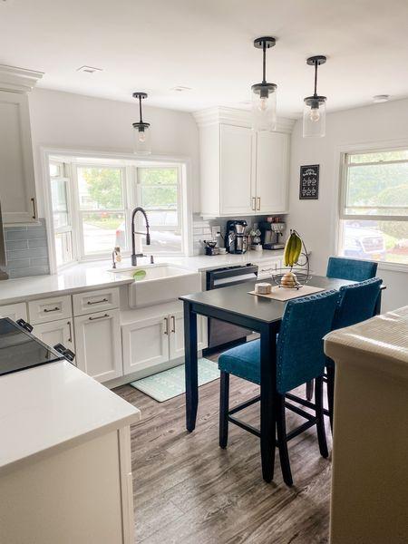 White kitchen + kitchen decor + black table + farmhouse sink   #LTKhome