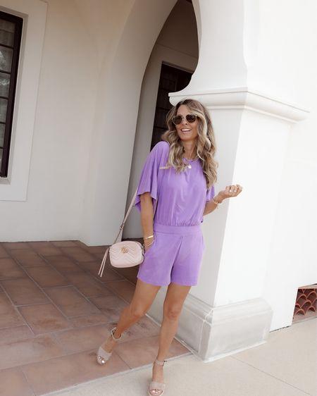 Beautiful lavender romper, can be worn off shoulder as well. Wearing Sz XXS, I would like a XS better. Gucci crossbody bag   #LTKtravel #LTKworkwear #LTKstyletip