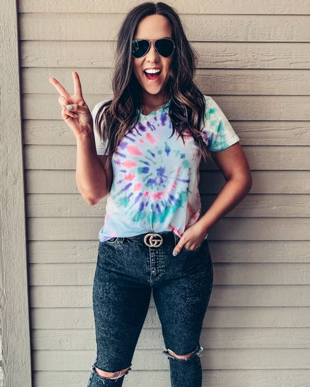 """Is there such thing as too much tie dye? ...asking for a friend. These shirts are available in our fb vip group """"AIMSLEY LANE VIP"""" will be on the website soon.    http://liketk.it/2QsxN #liketkit @liketoknow.it #StayHomeWithLTK #LTKcurves #LTKsalealert"""