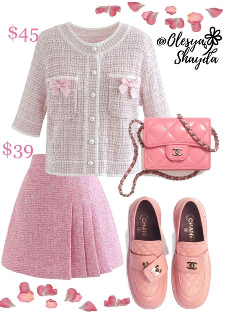 Chanel inspo 🌸 Outfit is from Chicwish and currently on sale! Add Chanel accessories for the complete chic and feminine look #designer #sale #tweed #tweedtop #mini #miniskirt #minibag #microbag #loafers #pinkdesigner #girlystyle  #LTKshoecrush #LTKitbag #LTKunder100