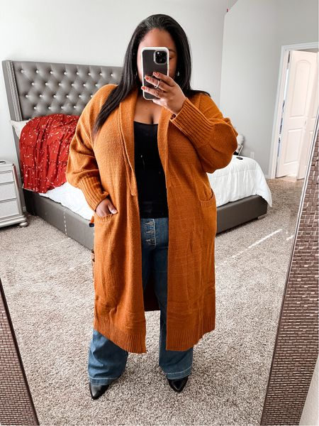Plus size fall outfits | sweater robe cardigan, rust cardigan, fall sweater, fall cardigan, plus size outerwear, plus size cardigan, Walmart fashion, Walmart finds.  #LTKcurves #LTKunder50