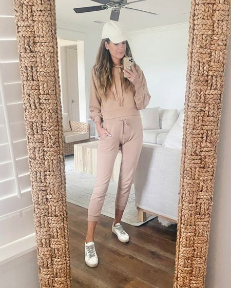 Comfy on the go outfit or for lounging! Amazon finds. I've had these joggers for quite awhile and apparently they've faded just a bit in the wash. I have xs in both pieces. The shein sneakers are super cute but run small.  Size up!    #LTKshoecrush #LTKfit #LTKunder50 http://liketk.it/3kRHH #liketkit @liketoknow.it
