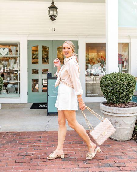 White zimmermann shorts and penny knot mules   http://liketk.it/2TsOQ #liketkit @liketoknow.it #LTKshoecrush #feminineoutfit #femininestyle