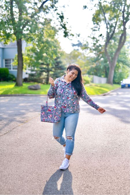 """5% of profits of Vera Bradley new print in Hope Blooms goes to breast cancer research! Use code """"queencarlene"""" for an additional 10% off   Sweatshirt (L), jeans are seven (31, TTS), & shoes are converse (size down 1.5 sizes)  Vera Bradley collection, travel essentials, #verabradley, travel must-haves, backpacks, floral bags, Vera Bradley travel, casual style, midsize, mid size, aerie, light denim jeans, converse, high rise denim, size 12, size 14, high tops, fall fashion, fleece, sherpa   #LTKitbag #LTKunder100 #LTKGiftGuide"""