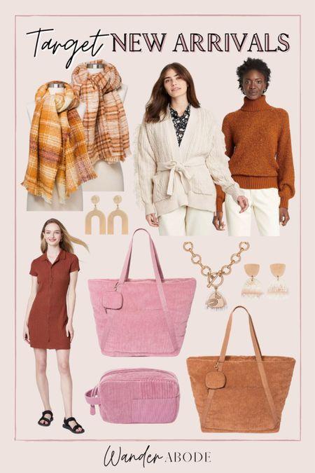 New fall arrivals from Target: fall sweaters, polo dress, corduroy weekender bags, plaid blanket scarf  #LTKSeasonal #LTKunder50 #LTKunder100