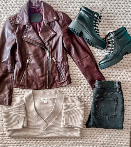 Leather jacket, Marc Fisher boots, white sweater, black jeans, fall outfit, winter boots, Nordstrom outfit   #LTKunder100 #LTKshoecrush #LTKstyletip