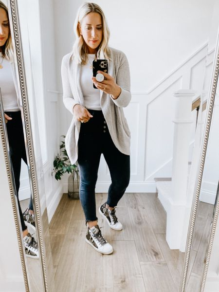 Barefoot dream cardigan - part of Nordstrom anniversary sale. Size up for a cozier fit.   Abercrombie and Fitch black skinny jeans.   P448 high top sneakers   #nsale, fall outfit, barefoot Dreams     #LTKsalealert #LTKshoecrush #LTKunder100