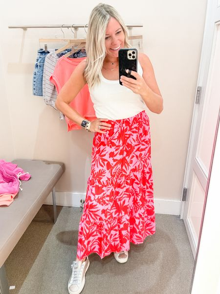 This pink and red floral print is stunning and currently 50% off. Comes in a dress and a skirt wearing the size extra small. Loft sale summer skirts dresses dress  #LTKSeasonal #LTKsalealert #LTKunder50