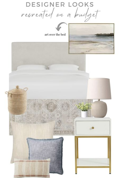 Pure Salt Interiors look for less! Love this calm bedroom design I saw on Instagram and had to recreate for with affordable home decor items. I love the velvet headboard and this rug is amazing!! Art is under $100!   #LTKunder100 #LTKhome