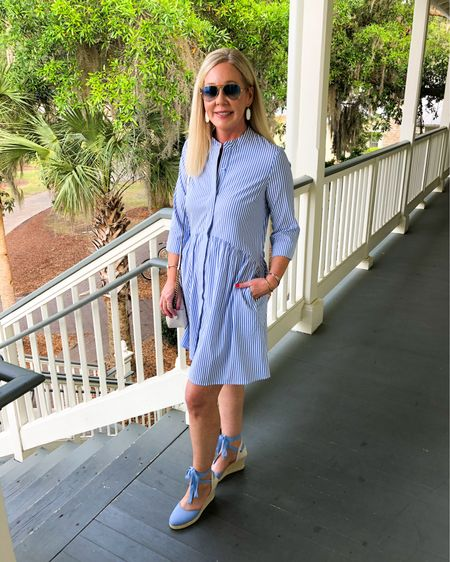 Just one of my favorite looks from our anniversary trip. Always love a blue stripe dress in summer but the shoes are especially cute! Wearing XS in the dress and shoes are true to size. Check out the rest of my outfits on this trip via my YouTube video. Link in bio. Direct shopping links by following me in the @liketoknow.it app or on my Blog. http://liketk.it/3fn8O #liketkit #LTKtravel #LTKshoecrush