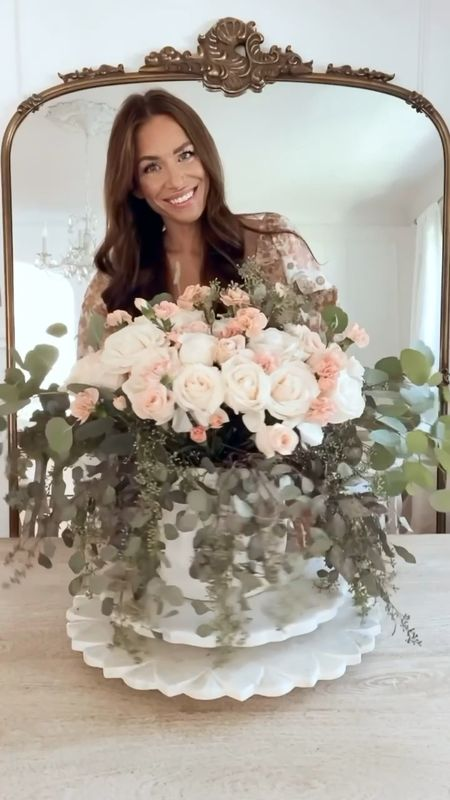 Happy #FloralFriday! We're jumping right into fall with a pretty centerpiece full of greenery, cream roses, peach roses and blush carnations! I also used some chicken wire to keep the flowers in place! I hope you have a great weekend! 🌸  #LTKunder100 #LTKhome #LTKunder50