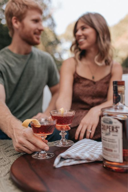 fall outdoor date night on the deck - create a cocktail together and pour into a fancy pair of coupe glasses, snuggle up and enjoy the crisp fall air. his and her fall date night outfits   #LTKunder100 #LTKhome #LTKstyletip