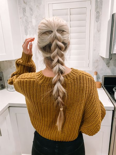 Chunky sweaters and chunky braids 🖤 wearing an XS in this mustard yellow sweater http://liketk.it/387ry #liketkit @liketoknow.it #LTKunder100 #LTKstyletip #LTKunder50
