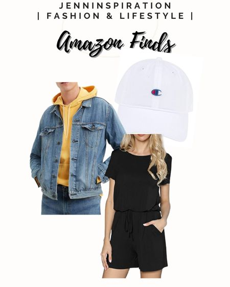 Champion baseball white hat  Denim jean jacket Black top and shorts set Perfect summer look Amazon finds  http://liketk.it/3h4li #liketkit @liketoknow.it   #LTKDay #LTKstyletip #LTKfit Screenshot this pic to get shoppable product details with the LIKEtoKNOW.it shopping app