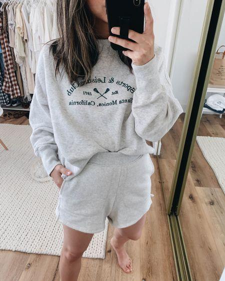 Graphic sweatshirt. Sporty sweatshirt. Loungewear. Sweatshirt- A&F small Shorts- Madewell xxs  http://liketk.it/3inQF @liketoknow.it #liketkit #LTKunder100