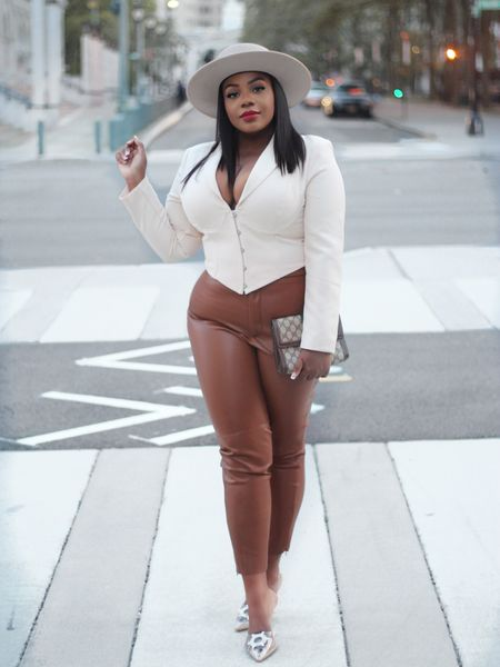 Quick look from one of the pieces I share on my Zara Haul over on YouTube. Faux leather and varied shades of brown are a must have from this season into winter!  . Get look here: http://liketk.it/2Z5Ag  . . . #howtowearit #leatherpants #sundayvibes #lavishalice  #nationalleggingsday #LTKunder100 #LTKcurves #LTKstyletip #liketkit @liketoknow.it