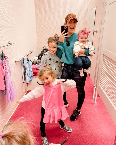 My reply to someone when they say shopping is relaxing 😅⬆️⬆️⬆️  ... but I love it! My girl squad goes with me everywhere. We braved the mall today & I didn't even have my stroller or wrap. Call me crazy, but I love a good deal.  There's still time to shop before the cyber Monday deals end. Presley's star jogging suit & Monroe's sweater are both over 50% off! My high waisted jeans are on mega sale, super flattering & run true to size. I also linked some other fun items including a plaid shacket for $28 😱 HAPPY SHOPPING 🛍 🛒  Anybody else take their kids to the mall???   Screenshot this pic to get shoppable product details with the LIKEtoKNOW.it shopping app #liketkit #cybermondaydeal #cybermondaysale @liketoknow.it @liketoknow.it.family http://liketk.it/32OrC