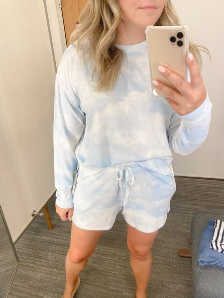 Looooooove this cozy set in the #NSale! SO SOFT. Top is a Small (TTS) and I sized up to a Medium in the shorts for added comfort.   #LTKunder50 #LTKsalealert