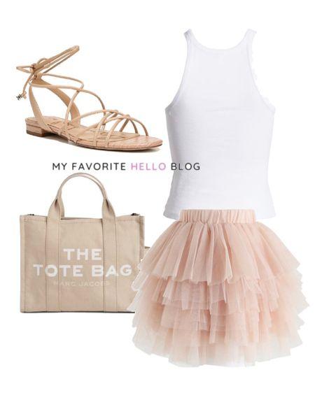 Tulle skirt summer outfit. Tulle mini skirt outfit summer. Mini skirt and flat gladiator sandal http://liketk.it/3gcYO #liketkit @liketoknow.it #mimiskirt #tulleskirt #summeroutfit  #LTKshoecrush #LTKitbag #LTKtravel