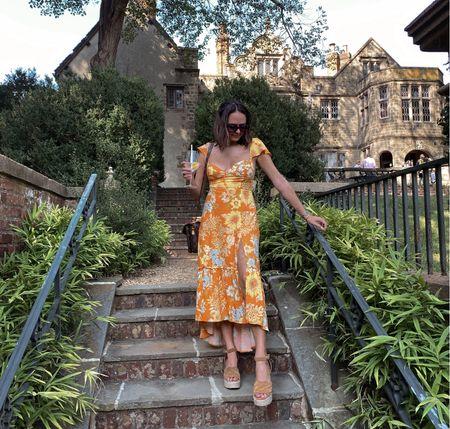 Orange 70s style dress from urban outfitters on sale. Orange dress under $50. Wedding guest dress. Labor Day weekend dress. LDW style. #competition #ltkwedding #ltkstyletip   #LTKSeasonal #LTKsalealert #LTKunder50