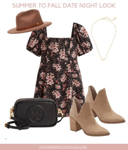 Summer to fall date night look- floral dress with booties and a hat   #LTKshoecrush #LTKstyletip #LTKSeasonal