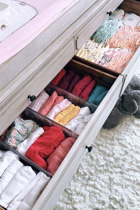 Bedroom dresser drawer divided and organized⭐️  #LTKfamily #LTKhome #LTKkids