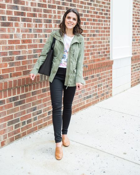 Amazon graphic tee, Def Leppard band tee (s), utility jacket (xs), Mott&Bow skinny black jeans (25), Madewell transport tote, Everlane day loafer mules (size up .5) http://liketk.it/2WGOB #liketkit @liketoknow.it #LTKstyletip #LTKunder50
