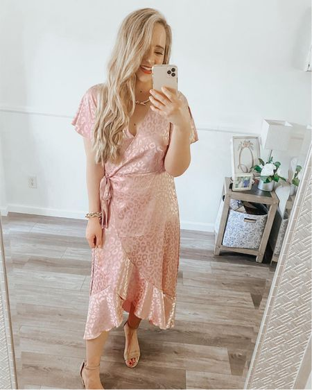Amazon dress, Amazon spring, Amazon find, Amazon spring fashion http://liketk.it/3dy3b #liketkit @liketoknow.it #LTKunder50 #LTKunder100 #LTKstyletip #ltkspring #ltksummer      Wrap dress  Nude heels  Nude sandals  Nude shoes  Kendra Scott  Kendra Scott jewelry Kendra Scott necklace  Pink dress  Blush dress