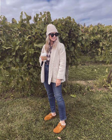 Casual fall outfit, shawl cardigan, plaid top, straight leg jeans, Sherpa Birkenstock's   #LTKSeasonal