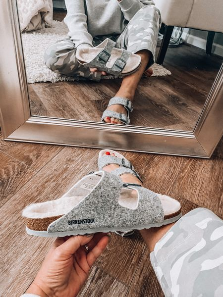 New Birkenstock Arizona Sherpa sandals, also check out the camo twill ankle pants on sale at Gap Factory #ltkfall  Fall outfits, casual outfits, sale, deals, everyday outfit, mom style, fashion over 40  #LTKsalealert #LTKshoecrush #LTKunder50