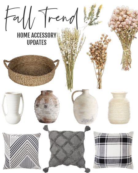 Fall home decor accessories, dried florals from Aforal, pottery, throw pillows   #LTKhome #LTKstyletip #LTKsalealert