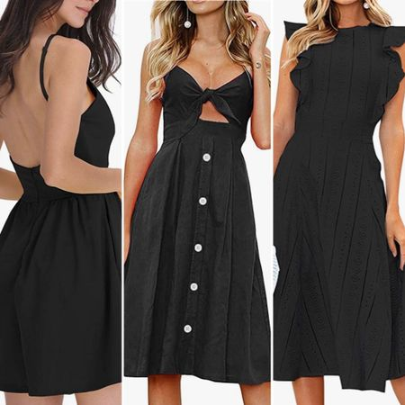 Summertime LBD little black dresses 🖤🖤   You can instantly shop all of my looks by following me on the LIKEtoKNOW.it shopping app http://liketk.it/3hQfx #liketkit @liketoknow.it #lbd #sundress #blacksummerdress #summerblackdress #blacksundress #weddingguestdress #datenight #datenightdress #beachdress #summervacation #simplestyle #amazondress #primeshipdress