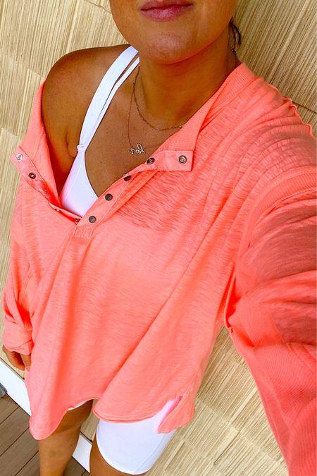 Top - papaya medium oversized fit   Bralette - M/L but a little see thru so don't plan on wearing alone   Biker shorts - tts    http://liketk.it/3hz1a #liketkit @liketoknow.it   #LTKunder50 #LTKstyletip