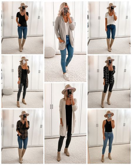 Nsale fall outfits. Nordstrom sale Barefoot Dreams cardigans size xs White & black tshirt size xs Rails plaid shirt size s Leopard cardigan size xs Spanx leggings size s petite Skinny jeans size 25 Tan booties size 7 Tall tan boots size 7  #laurabeverlin  #LTKunder100 #LTKsalealert #LTKunder50