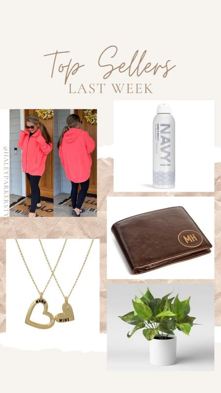 Top sellers last week Free people oversized hoodie  Personalized wallet Father's Day Pebble beach dry texture spray Krista Horton kolli Horton mama and mini necklaces Faux plant target  #LTKmens #LTKstyletip #LTKunder50