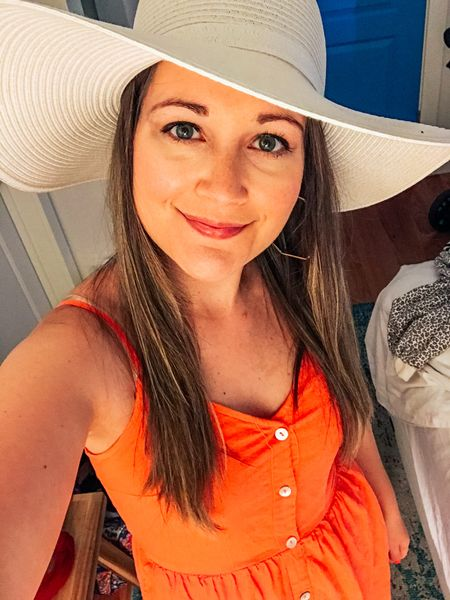 Rocking the spring vacation look in this midi sundress and white floppy straw hat! Top 2 buttons are functional - nursing friendly!  http://liketk.it/3eKpT #liketkit @liketoknow.it #LTKunder50 #LTKtravel #LTKstyletip