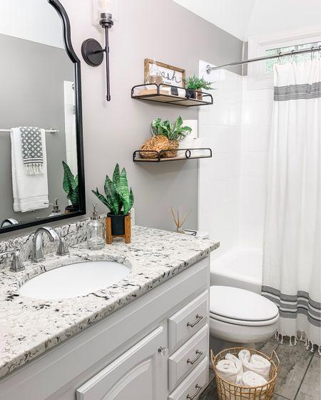 Guest bathroom (the target shelf is painted black)  http://liketk.it/2TN3H #liketkit #LTKunder50 #LTKunder100 #LTKhome @liketoknow.it @liketoknow.it.home @liketoknow.it.family