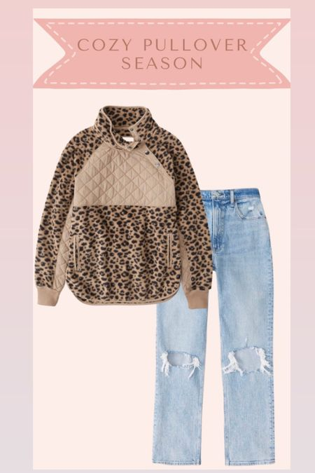 Sherpa pullover and jeans from Abercrombie on sale   #LTKsalealert #LTKstyletip #LTKSale