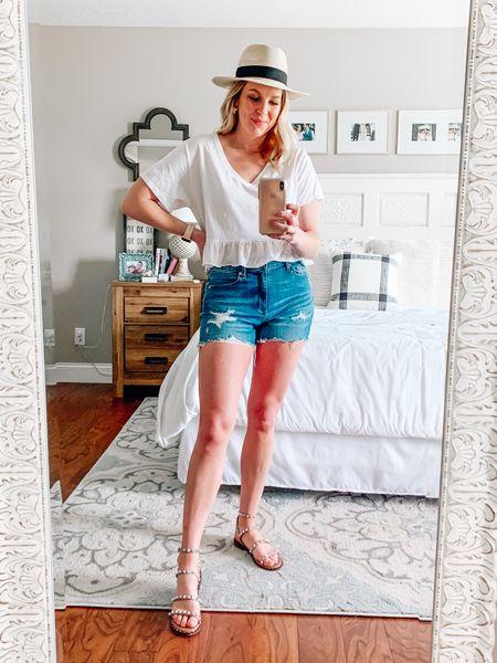 White cropped peplum tee with high waist distressed denim shorts   #LTKstyletip #LTKunder100 #LTKSeasonal