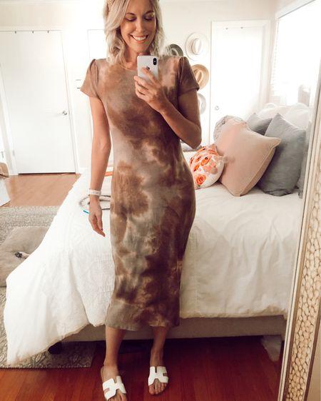 Tie dye midi dress on sale for $23. Runs TTS. Wearing Spanx Power Shorts underneath. Steve Madden Greece slide sandals on sale for $59.  http://liketk.it/2MqLD @liketoknow.it #liketkit #LTKspring #LTKunder50 #LTKsalealert  white sandals, spring dresses, neutrals