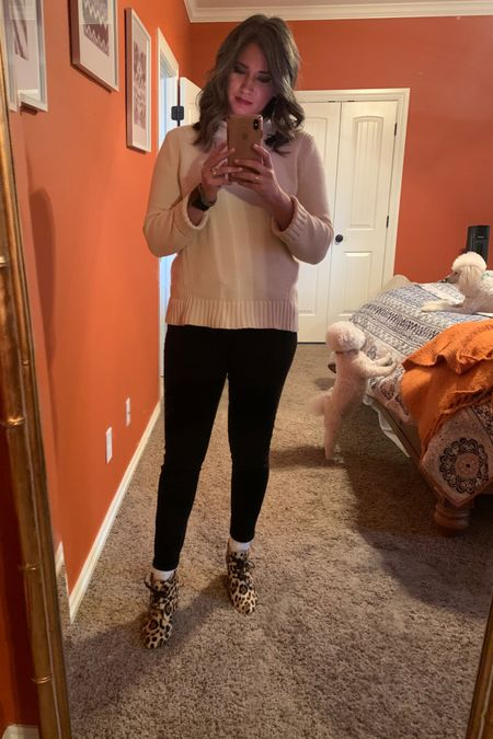 You can complete this outfit head-to-toe! The rollneck sweater is on sale and the jeans are in stock. I have found four similar pairs of calf hair leopard print booties.   http://liketk.it/2LfD5 #liketkit @liketoknow.it #LTKsalealert #LTKshoecrush #LTKunder50
