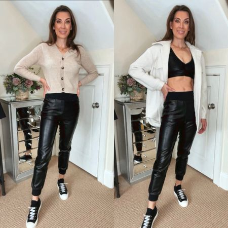 Faux leather joggers and leggings pair so well with so many items in the closet. On the left, I styled the same joggers with a crop cardigan. On the right, I went with more of an athflow inspired look and included a shacket as a layering piece to complete the outfit. | #shackets #falloutfit #fauxleather #fauxleatherpants #fauxleatherjoggers #croppedcardigan #casualeverydaylooks #falloutfit #errandsoutfit #JaimieTucker  #LTKSeasonal #LTKstyletip