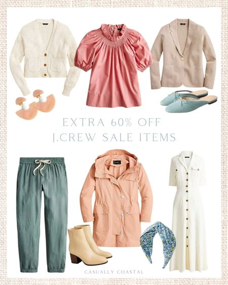 Just perused J.Crew's sale section, which is an additional 60% off with code SALEONSALE and there's some great pieces! I'm loving the cropped cardigan which also comes in navy, and a pretty warm clay color!  - - fall fashion, fall shoes, fall booties, J.Crew, J.Crew Sale, fall sweaters, cardigans, fall sweaters, blouses for work, blouses with ruffles, tops with ruffles, brown booties, jewelry, accessories, black blue flats, neutral flats, earrings, brown booties with heel, tab booties with a heel, cropped sweaters, puff sleeve blouses, fall dresses, joggers, rain coat, twist headbands, drop earrings, mules, ballet mules, suede mules, ankle boots, stacked heel boots, leather ankle boots, fall utility jacket, jogger pants, shirtdress, white shirtdress, ivory shirtdress, sweater blazer, tops for work, jackets for work, poplin tops   #LTKsalealert #LTKunder100 #LTKshoecrush