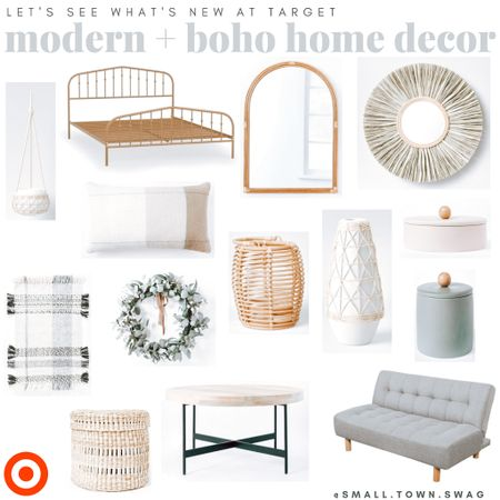 Target Tuesday comin atcha... here's some new Target home finds I'm loving!  PS... if you love following me here, i'd love to have you join me on Instagram. I share all things mom life, thanks for the kiddos, home decor and more — follow me @small.town.swag! . . . . . .  Boho bedroom // bed // bedroom // bedding // bedding set // pillow // pillows // throw pillows // basket wall // rug // rugs // area rug // nightstand // side table // master bedroom // master // boho master bedroom // baskets // gold mirror // Anthropologie // anthro mirror // Anthropologie mirror // bohemian vibes // bohemian style // boho style // modern // Scandinavian // shelving // shelf // geometric shelf // hexagon shelf // industrial // modern farmhouse // farmhouse // quilt // bedroom suit // mirror // gold mirror // sunburst mirror // Walmart home // target home // Etsy home decor // Amazon home // wall art // modern art // framed art // feature wall // wall collage // bedroom decor // bedroom inspiration // living room // home decor // target style // Target finds // Walmart finds // boho // bohemian // Modern farmhouse // threshold // Opal house // project 62 // Target home // mirror // rattan decor // rug // rugs // pottery // coffee table // table // couch // bed // bedroom // bed frame // macramé   #LTKhome #LTKDay #LTKSeasonal