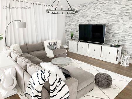 Greatroom at ModernFarmhouseGlam. Living room furniture, lighting, home decor, rugs, coffee table  #LTKhome #LTKHoliday #LTKSeasonal