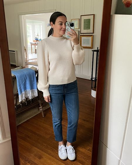 Puff sleeve sweater, j. Crew cashmere, casual fall outfit, preppy fall